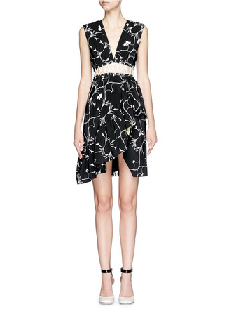 'Lina' blossom branch print lace-up waist dress