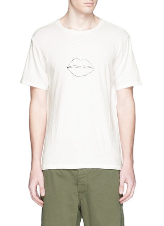 'Lips' print cotton slub jersey T-shirt