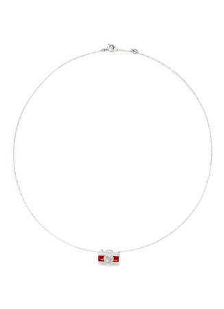 'Little Camera' 18k gold diamond moonstone necklace