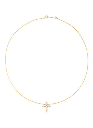 'Little Cross' 18k gold diamond pearl necklace
