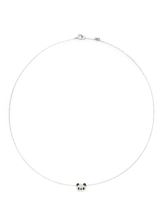 'Little Panda' 18k gold diamond necklace