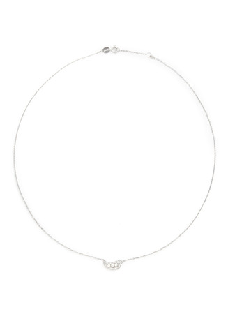 'Little Pea' 18k gold diamond pearl necklace