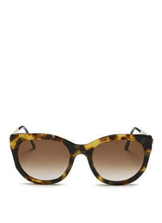 'Lively' metal temple tortoiseshell acetate sunglasses