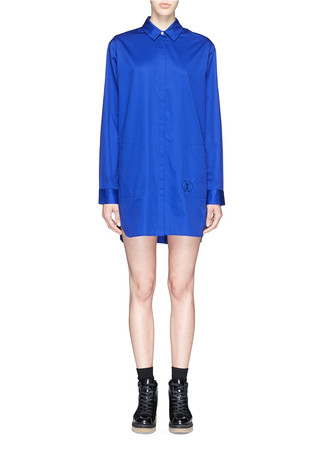 Logo embroidery poplin shirt dress