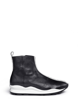 Logo leather ankle sneaker boots