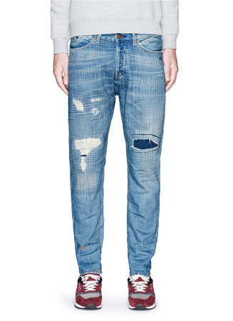 'Lot 22 Atlantic Battle' crosshatch embroidery jeans