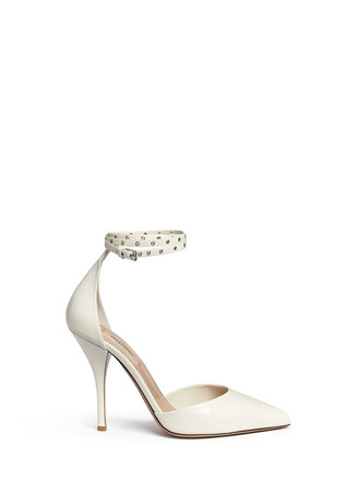 'Love Latch' grommet wraparound ankle strap leather pumps