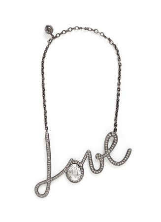 'Love' glass crystal pendant necklace