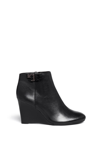 'Lowell' metal colourblock logo leather wedge ankle boots