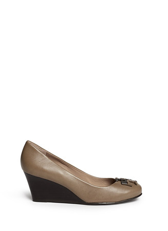 'Lowell' metal colourblock logo leather wedge pumps