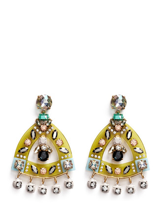Lucite-and-crystal earrings