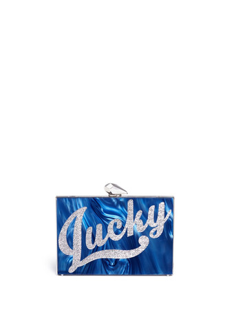 'Lucky' pearlescent acrylic Merrick clutch