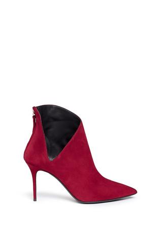 'Lucrezia' V cutout suede ankle boots