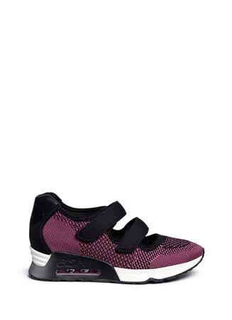 'Lulu' Velcro strap mix knit sneakers