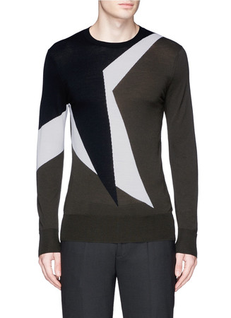 Magnified pop art star intarsia Merino wool sweater