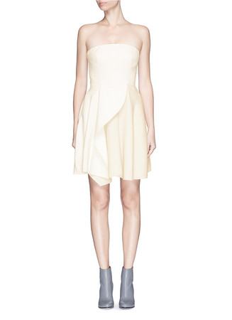 'Marcy' ruffle front stretch wool dress