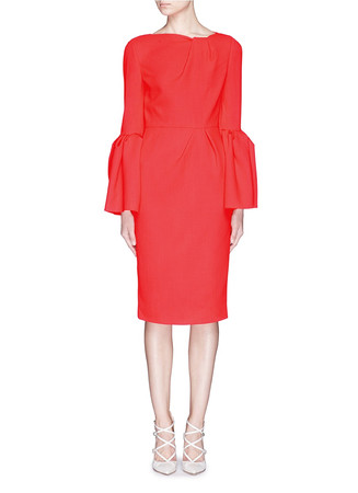 'Margot' pleat sleeve ruche wool crepe dress