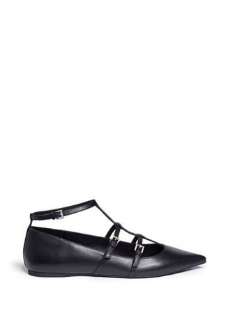 'Marta' caged buckle strap leather flats