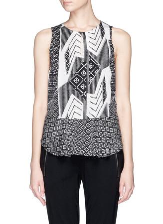 'Maya' ethnic print silk peplum top