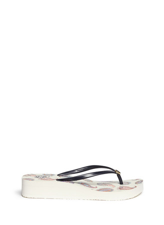 'Mayfair' paisley print wedge flip flops