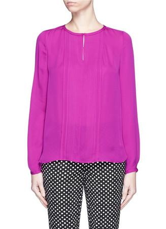 'Meadow' pleat front silk blouse