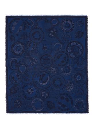 Medallion jacquard silk-wool scarf