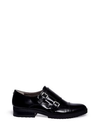 'Melanie' double monk strap leather shoes
