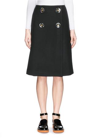 Metal button wrap skirt