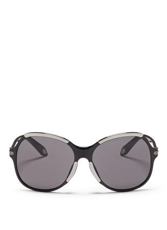 Metal deco oversize acetate sunglasses