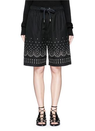 Metal eyelet cotton-linen board shorts