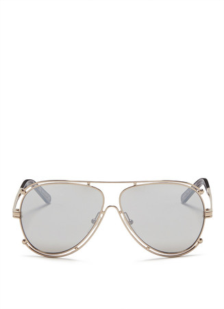 Metal outline aviator sunglasses