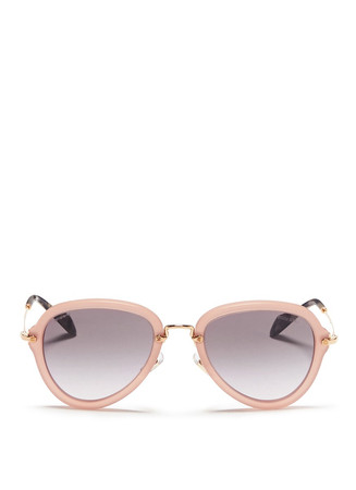 Metal temple aviator acetate sunglasses