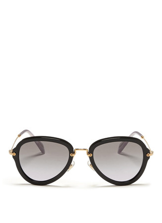 Metal temple aviator frame sunglasses