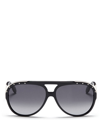 Metal temple stud aviator sunglasses