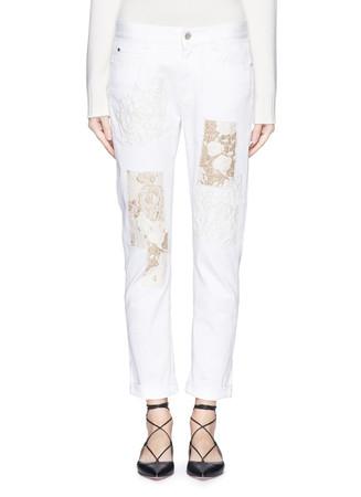 Metallic embroidery brocade patchwork boyfriend jeans