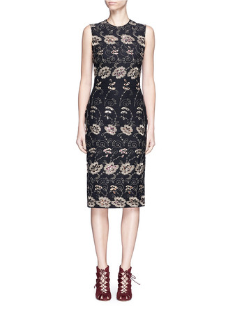 Metallic floral embroidered silk sleeveless dress