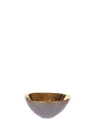 Metallic interior ceramic bowl