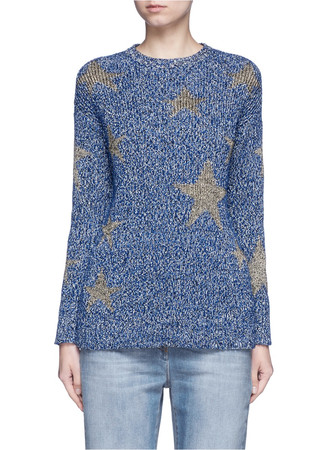 Metallic star intarsia mouliné knit sweater