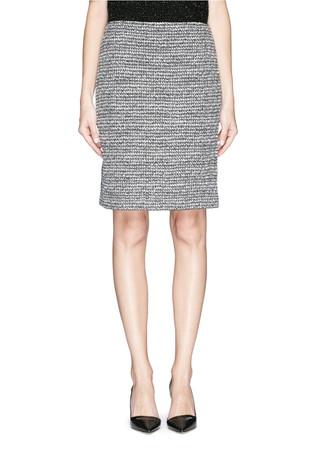 Metallic tweed knit pencil skirt
