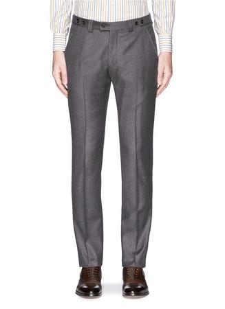 Micro check virgin wool flannel pants