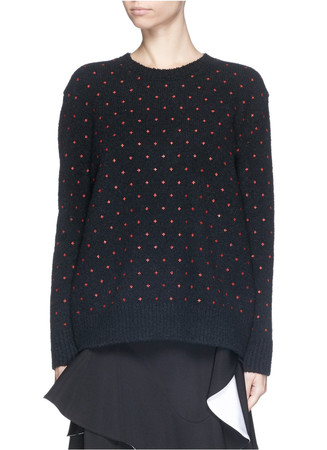 Mini cross print wool-cashmere sweater