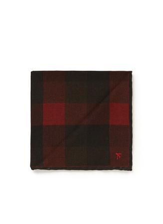 Mix check wool-silk pocket square