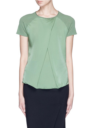 Mock wrap silk front top