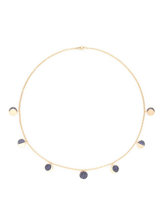 'Moon Phase' sapphire 18k yellow gold necklace