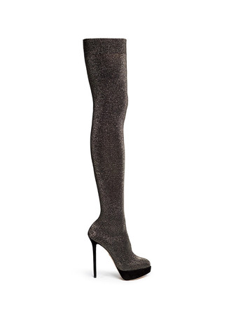 'More is More' glitter stocking thigh high boots
