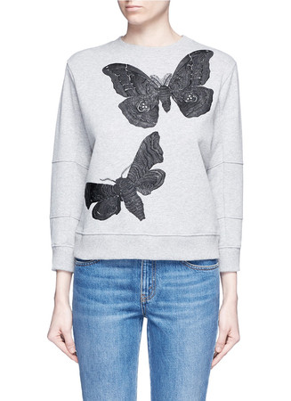 Moth embroidery French terry sweartshirt