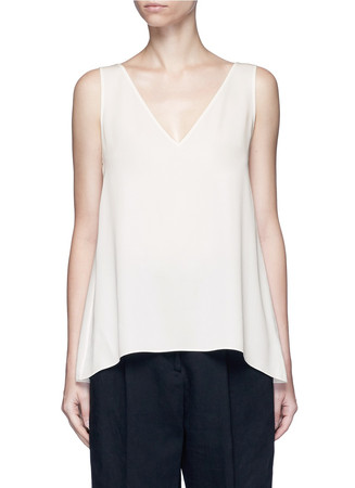 'Narcyz' V-neck silk shell top