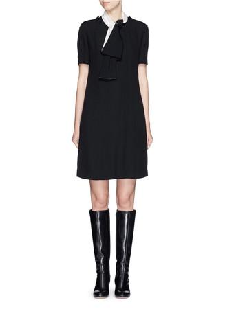 Neck tie satin-faced crepe dress