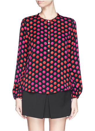 'Neda' polka dot print silk georgette top