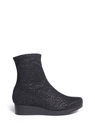 'Nerdy' glitter leopard stretch wedge ankle boots